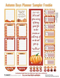 Check out the adorable pumpkin lists! To Do Planner, Planner Layout, Free Planner, Happy Planner, Planner Ideas, Kikki K, Printable Planner Stickers, Free Printables, Planner Organization