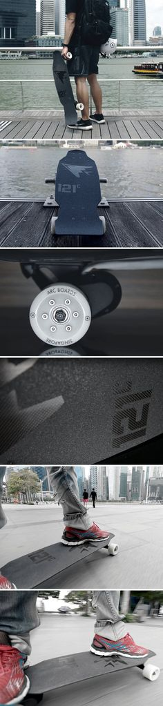 When Tony Hawk meets Tony Stark, you get the world's first pure carbon electric skateboard. Not your average skateboard, the 121C Arc Aileron puts a motor underneath the board, giving you the familiar feeling of riding a skateboard, with the added push of a brushless DC motor that propels you at up to 35km/h.