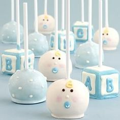baby shower pop cakes-Could do pink/purple for a girl.