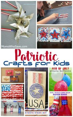 -themed crafts your kids can do to celebrate Independence Day or other patriotic holidays, look no further. We've rounded up 20 kids' crafts perfect for Memorial Day, the of July, President's Day, or the Olympics! Home Crafts, Diy And Crafts, Crafts For Kids, Balloon Crafts, Patriotic Crafts, Happy Kids, Independence Day, Memorial Day, Craft Projects