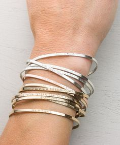 Personalized Inspiration: this Cuff Bracelet can be inscribed with your own words! Minimal & Dainty Cuff is elegant and beautiful alone or as a stacking bracelet. Its your new favorite bracelet. Or the perfect, meaningful gift. 14k Gold Fill, Sterling Silver or Rose Gold Fill. T H E