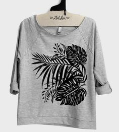 Tropical Raw Edge Sweatshirt | For those cool summer nights, this grey sweatshirt features a ... | Sweatshirts