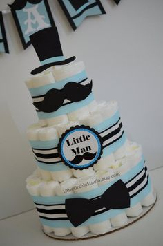 PARTY IN BOX! Little man Baby shower/ Mustache baby shower/ Bow tie/ Diaper cake for Boys/ Little Man/ Lime and Blue/ Gifts for baby boy PARTY IN BOX Little man Baby shower/ Mustache baby shower/