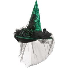 This mesmerizing Green Witch Hat Deluxe adds Gothic glamor to your witch costume. The fancy emerald green witch's hat features a black lace overlay, faux raven, and tulle veil. Witches Costumes For Women, Witch Costumes, Scary Halloween Costumes, Halloween Costume Accessories, Halloween Kids, Halloween Decorations, Witch Hats, Halloween Witches, Halloween 2019