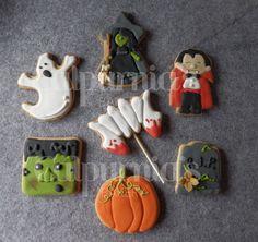 Witch, Dracula, ghost, pumpkin, grave, Frankenstein, bloody fangs cookies Halloween decorated cookies