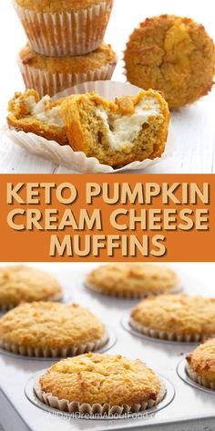 Delectable keto pumpkin pumpkin muffins with a rich gooey center of cream cheese. They're a delicious fall breakfast or snack. You might even want to save them for dessert! Low Carb Sweets, Low Carb Desserts, Low Carb Recipes, Pumpkin Cream Cheese Muffins, Pumpkin Cream Cheeses, Low Carb Breakfast, Fall Breakfast, Pumpkin Recipes Keto, Keto Cake