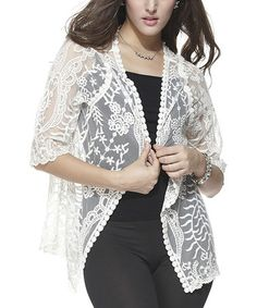 Look at this #zulilyfind! White Floral Crochet Open Cardigan #zulilyfinds