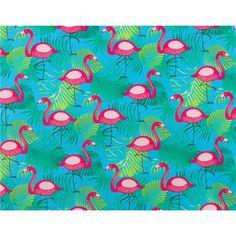 Quiltstof Femmy met flamingo's en planten. Deze stof is per meter verkrijgbaar en geschikt voor het maken van gordijnen, kleding, kussens, dekbedovertrekken en nog veel meer. Kleur: blauw.