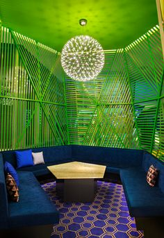intimate spaces in the hotel are cocooned by arresting design features. W Mexico City- a colour saturated hotel, Polanco Living Room Bar, Living Room Green, Green Rooms, Living Room Trends, Living Rooms, Living Room Interior, Interior Design Living Room, Wood Furniture Living Room, Modern Home Furniture