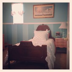 Turqouise and coral room pallet. Original antique 1800's bed mixed with bright colors. It's the perfect room for my little girl. Rustic meets shabby chic. Side table painted by uniqueantweaks in Annie Sloan chalkpaint Scandinavian pink.