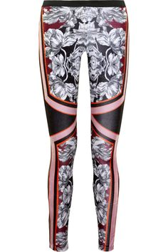 Floral-print velvet and leather leggings-style pants