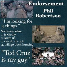 EXCLUSIVE: Duck Commander Phil Robertson endorses Ted Cruz | Fox News | http://fxn.ws/1W8gr98