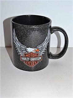 Harley Davidson Motorcycles Eagle Black Speckled Mug Coffee Tea Biker Chopper