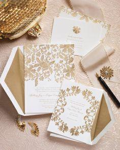 "We love the gilded elegance of Oscar de la Renta for Paperless Post's ""Leaf Lace"" suite | @OscarPRGirl @Paperless Post"