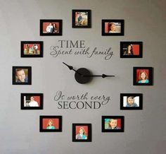 Time Spent With Family Clock Giveaway - Uppercase Living - Candy McSween, Director & Independent Demonstrator Picture Frame Clock, Photo Frame Display, Display Family Photos, Photo Displays, Display Ideas, Display Wall, Family Pictures, Picture Wall, Creative Photo Frames