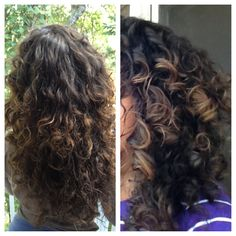 Before and after DIY Curl Refreshing Spray—my hair isn't naturally this curly, but it might be worth a try.