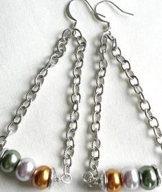 Silver Chain and Glass Pearl Earrings by APerfectGem on Etsy, $14.00