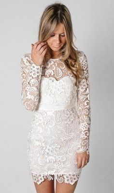 Sexy Slim Bud Floral Long Sleeve Lace Party Evening Dress