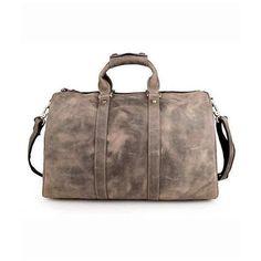 Grey Leather Weekender Bag