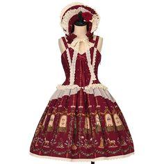 Poison de l'amour pattern Juliet Jumper skirt + bonnet set  ALICE and the PIRATES  https://www.wunderwelt.jp/en/products/w-26560    Worldwide shipping available ♪   How to order ↓  https://www.wunderwelt.jp/en/shopping_guide  * Japanese online shop for second-hand Lolita Fashion *Wunderwelt *