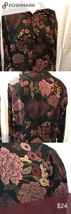 Apostrophe Womens Button Down Blouse  PM Floral Transparent. Women's Blouse. Ties at cuffs. Button down. Collared. Excellent condition. 🚫No trades ✅Reasonable offers submitted though offer button accepted. 🚭Smoke free home💌Laundered before shipped Apostrophe Tops Button Down Shirts