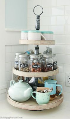 Our Kitchen Tea Station and Tiered Trays for Kitchen Storage - The Happy Housie Tiered tray stands are great for storage and organization or for seasonal displays; I used mine to create a tea station in our newly organized kitchen.