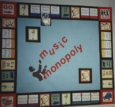 A Music Monopoly bulletin board is perfect for teaching teens musical terms. Piano Lessons, Music Lessons, Music Bulletin Boards, Middle School Music, Future Music, Music Activities, Music Games, Music Music, Physical Activities