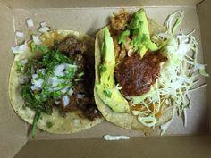 La Esquina Corner Deli - New York, NY, United States. Tacos- Steak Barbacoa and Tinga de Pollo