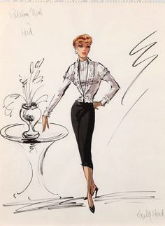 Edith Head vintage fashion illustration for Patricia Neal in Hud