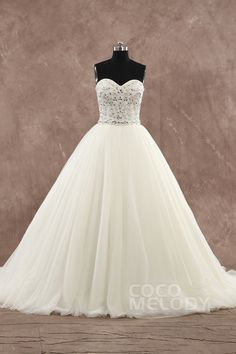 Delicate+Ball+Gown+Sweetheart+Natural+Court+Train+Tulle+Ivory+Sleeveless+Lace-up+Corset+Wedding+Dress+with+Crystals+and+Beading+h1ms0237 #weddingdress #cocomelody