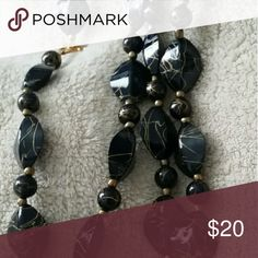 Black and gold beaded necklace Beautiful Black beaded necklace with streaks of gold Jewelry Necklaces