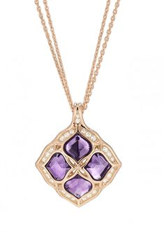 CHOPARD Imperiale rose-gold amethyst and diamond lace pendant Amethyst Jewelry, Rose Gold Jewelry, Diamond Jewelry, Fine Jewelry, Fancy Jewellery, Rose Gold Pendant, Amethyst Pendant, Diamond Pendant, Bijoux Or Rose