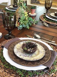 My love of all things with texture! Mix and match dishes, textured placemats, throw in some vines and birds nests.... My style all on one table!
