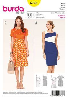 I really love the style of the orange dress with the flared skirt. Pockets would make this perfect!