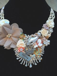 NECKLACE Statement Bib Romantic Jewelry Charms by pinkpurse