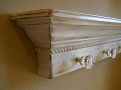 "36"" Floating Wall Shelf With Glass Door Knobs, Shabby Chic Wall Shelf With Glass…"