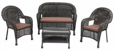 """Patio Furniture Wicker 4pc Sofa Set by 101patiofurniture.com. $674.00. Patio Furniture Wicker 4PC Sofa Set. Product Material: Cast Aluminum frame with wicker. Set includes:  (1) loveseat: 49""""L x 18""""D x 38""""H  (2) club chair: 27""""L x 18""""D x 38""""H  (1) coffee table: 28"""" x 18""""W x 17""""H. Save 16% Off!"""
