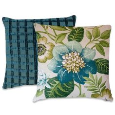 Blue Green  Pillow Cover-- 18x18 or 20x20 or 22x22-- Floral Decorative Cotton Throw Pillow--Blue, Green, Cream