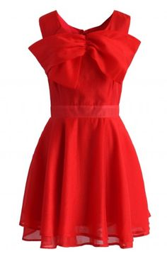 Bow the Elegance Organza Skater Dress in Red - Dress - Retro, Indie and Unique Fashion
