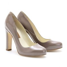 Rupert Sanderson 'Denia' grey patent chunky heel pump