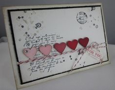 Love 1 / Valentines card By Carol Payne / love the text and the oldy worldy look of this. Gorgeous card. click on image for blog Stampin' Up!