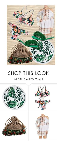 """""""Day at the beach...."""" by mdfletch ❤ liked on Polyvore featuring Nanette Lepore, Aquazzura and beach"""