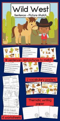 Your kindergarten or first grade students will love to practice reading sight word sentences with this cowboy themed literacy center! They'll match 18 sentences and pictures, then use the vocabulary posters to support their writing, and follow up with printable activities. Super fun, and easy to prepare and use! TpT $