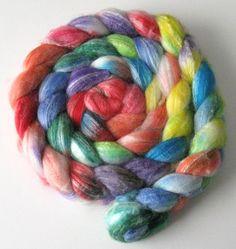 Hand dyed roving, Celeste SW Merino blend wool, spinning fiber - 4.0 ounces