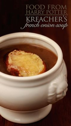 Dive into a hearty bowl of French onion soup that Kreacher serves Harry, Ron and Hermione.