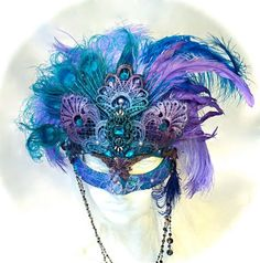 Peacock Dream Masquerade Mask Carnevale Mask by Marcellefinery Sweet 16 Masquerade, Masquerade Party, Masquerade Masks, Peacock Mask, Costume Venitien, Carnival Masks, Venetian Masks, Beautiful Mask, Masks Art