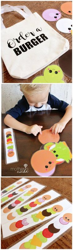 Build-a-burger Busy Bag! I love all these fun busy bag ideas! More #daycareideas