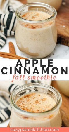 Start your day with this healthy creamy apple cinnamon smoothie This vegan recipe is perfect for breakfast and is made without bananas or yogurt smoothierecipes vegansmoothie veganbreakfast healthysnacks Apple Cinnamon Smoothie, Smoothie Fruit, Smoothie Recipes With Yogurt, Apple Cinnamon Oatmeal, Yogurt Smoothies, Apple Smoothies, Healthy Breakfast Smoothies, Vegan Smoothies, Easy Smoothies