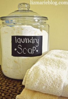 Homemade powdered laundry soap. I've been using this recipe for about 2 years and will never go back to buying laundry soap. This saves you LOTS of money and lasts a long time. I get all my ingredients at the grocery store. 1 batch for family of 2 lasted about 10 months with washing multiple loads about every week/week and a half. Family of 3 (with baby) now lasts about 6-7 months. If you've never used Purex Fels-Naptha it is awesome! It's my secret weapon to getting rid of baby stains.