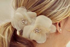 the classic twin blooms $25/bloom on etsy! silk flower, swarovski crystals, wedding hair